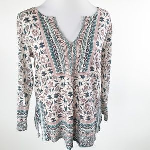 Lucky Brand Peasant Top Floral Boho